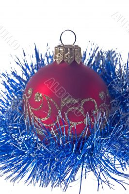 Christmas ornament - a red fur-tree sphere