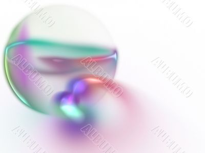 3d Fractal Abstract Background - Sheer colors surrounding a translucent globe