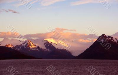 Sunset on granite peaks