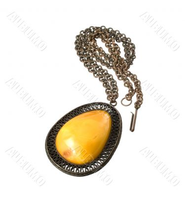 A pendant with amber isolated