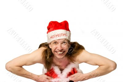 Humor christmas man in bikini doing striptease