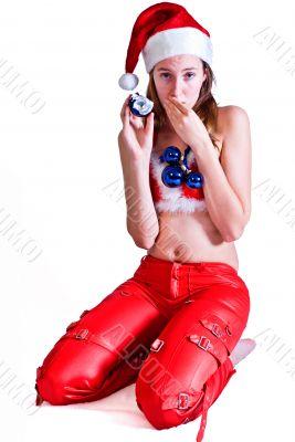 girl with broken christmas ball