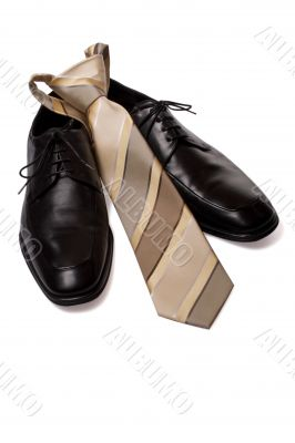 Black men shoes with tie isolated on white