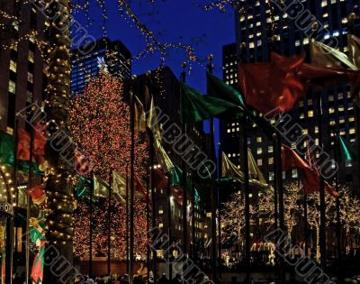 Christmas Tree and Flags at Rockefeller Center
