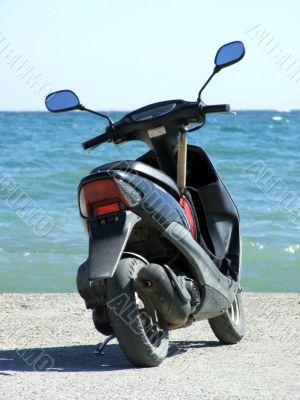 motorbike on a mooring