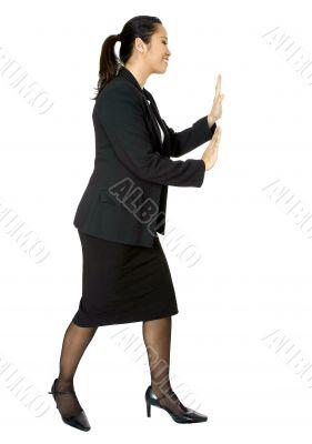 asian business woman pushing something aside