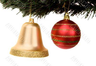 christmas ball and bell on a xmas tree