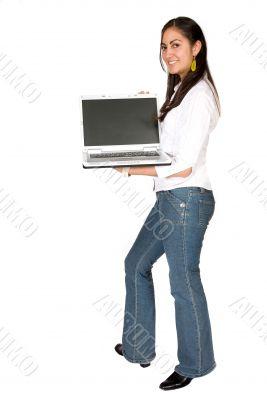 girl displaying a laptop