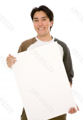 friendly man holding a white board