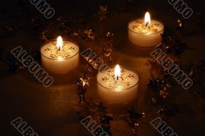 glowing christmas candles
