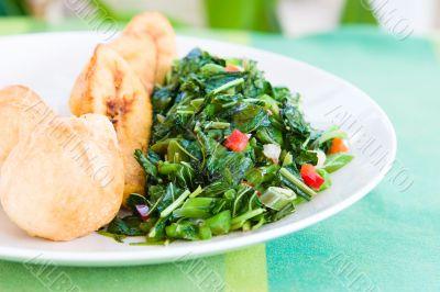 Callaloo Vegetable (Spinach) and Friend Dumplings - Caribbean St