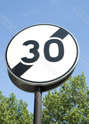 A speed limit 30 km/h road sign of Paris