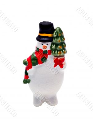 Isolated Porcelain Christmas Figurine: Frosty the Snowman