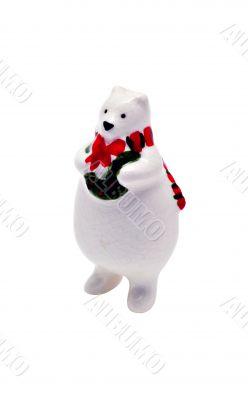Isolated Porcelain Christmas Figurine: White (Polar) Bear