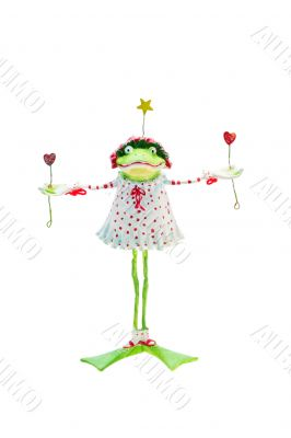 Isolated Frog In Christmas Dress and Bonnet (with clipping path)