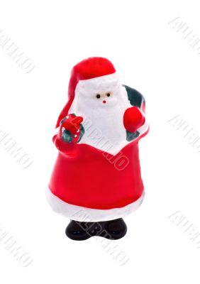 Isolated Porcelain Christmas Figurine: Santa Claus