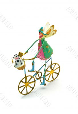 Isolated Christmas Angel on a Bicycle with Dog