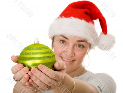 beautiful santa holding a christmas bauble