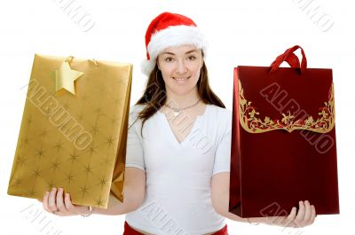female santa with shopping bags