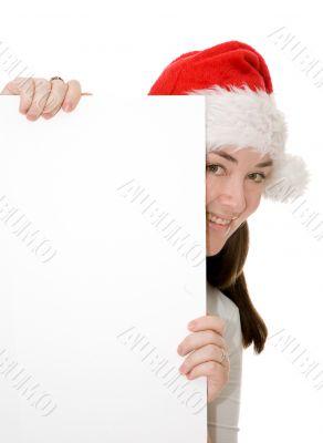 santa hiding behind a card