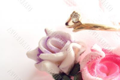 Engagement ring and rose