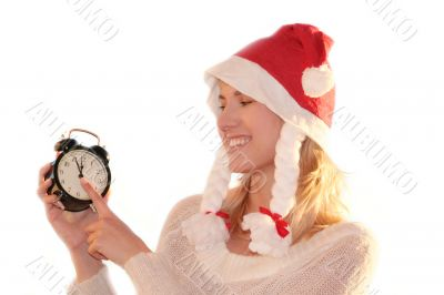 Christmas is coming. Young woman like Santa Claus as concept of eve xmas