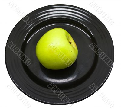 Green apple served at Black Japanese plate 3