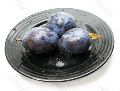 Plums served at Black Japanese plate