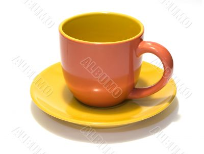 Pottery coffee cup and saucer 3