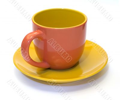 Pottery coffee cup and saucer 2