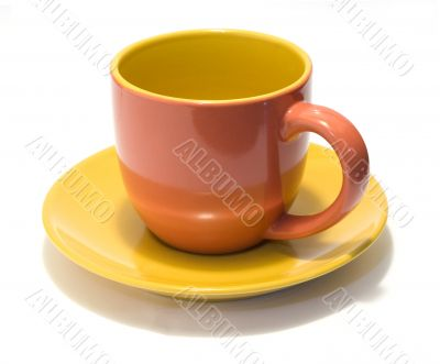 Pottery coffee cup and saucer 1