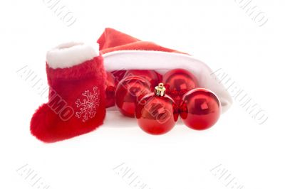 Santa hat and boot with red christmas balls