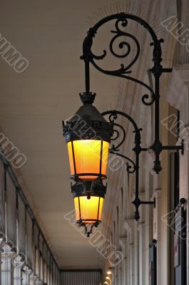 Old street lamp in the gallery