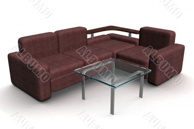 Sofa and glass little table. 3D illustrations.