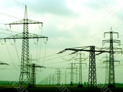 Many electricity power pole