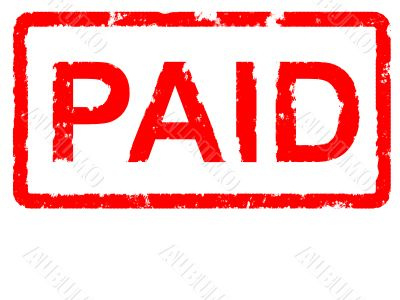 Grungey rubber stamp stating PAID