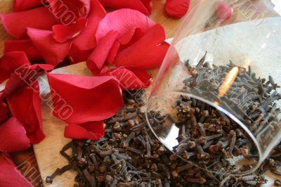 carnation and rose petal