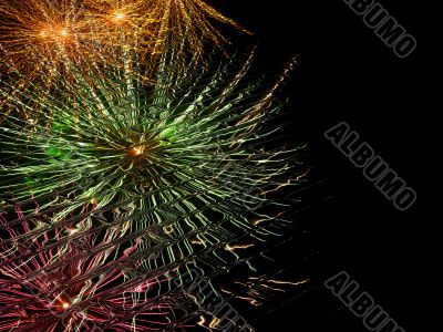 abstract fireworks reflection