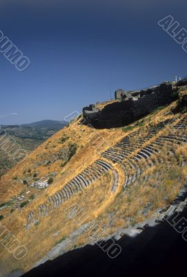 Greek theatre built into steep mountain slope