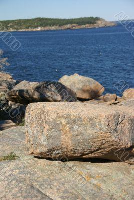 Granite rock ledges and boulders