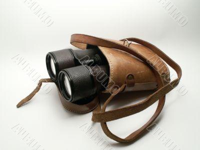 Old Binoculars In Leather Case