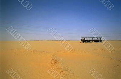 Bus in the desert, Sahara