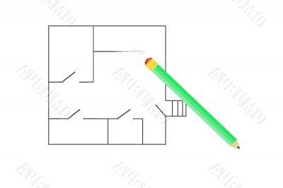 erased sketch and pencil