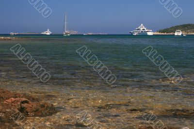Yachts on the sea level