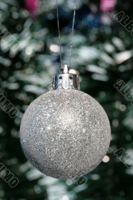 Christmas decoration - silver ball and tinsel