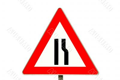 traffic sign road constriction