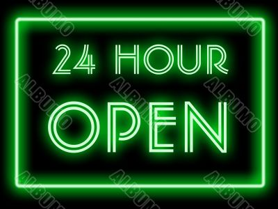 neon style 24 hour open sign