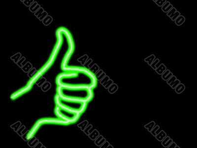 neon style thumbs up with copyspace