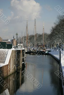 Ships in harbour on a winters day