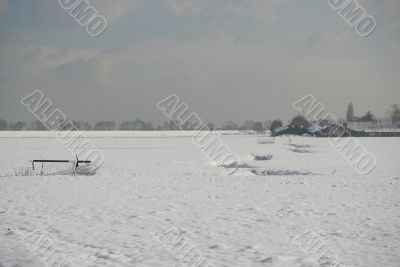 Fields covered in snow